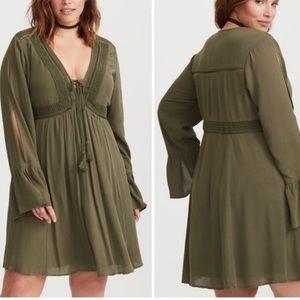 NWT Torrid olive green A-line dress bell sleeve
